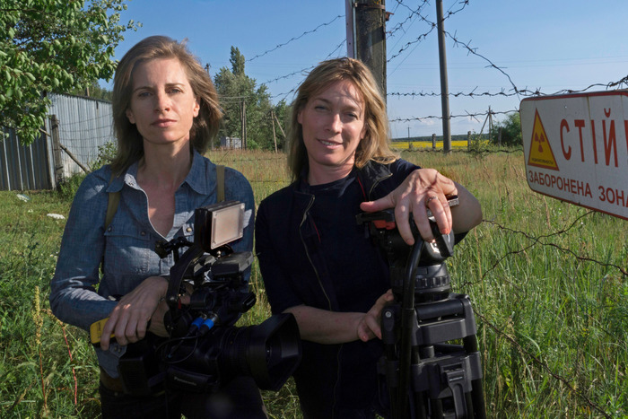 Holly (L.) & Anne (R.) on location at Chernobyl Zone.