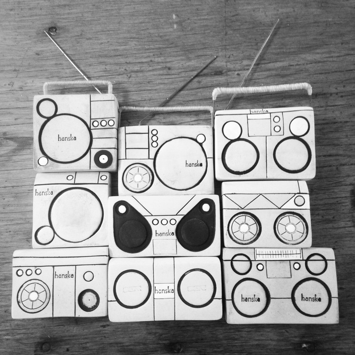 Limited Edition hand built Ceramic Mini Boom Boxes by Cannupa Hanska. One will be yours for a $500 or more donation!