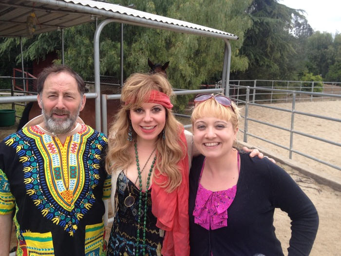 Arye Gross, Kirstin Vangsness and Etta Devine on the farm.