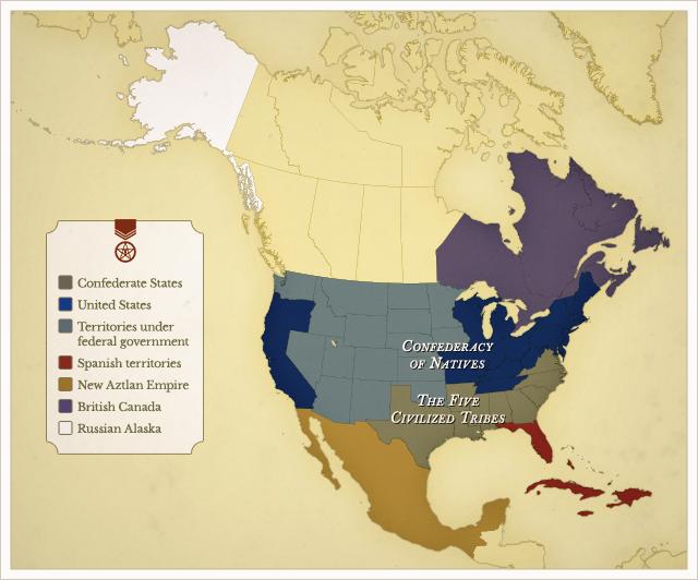 Meso & North America Political map in 1861
