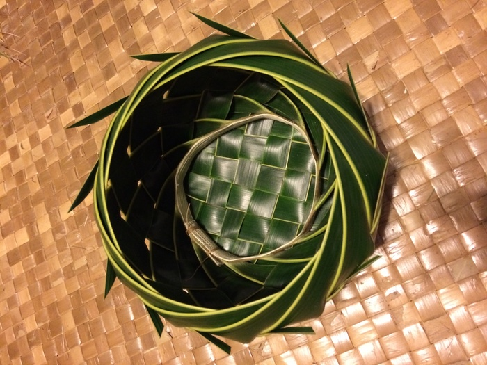 The Dream Weaver Package will come in a basket like this, made of coconut fronds from my yard in Pupukea.