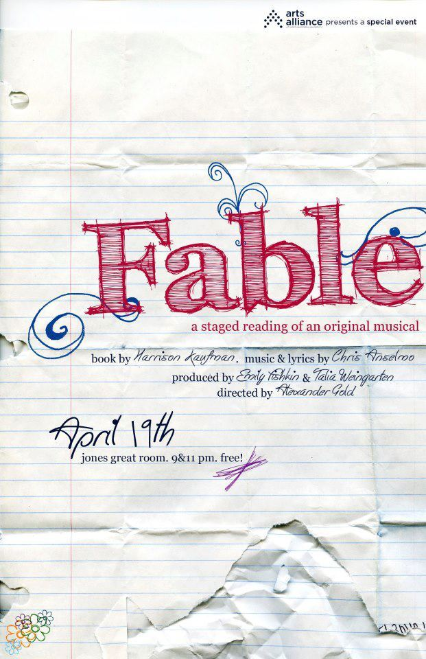 Poster from the first staged reading of FABLE