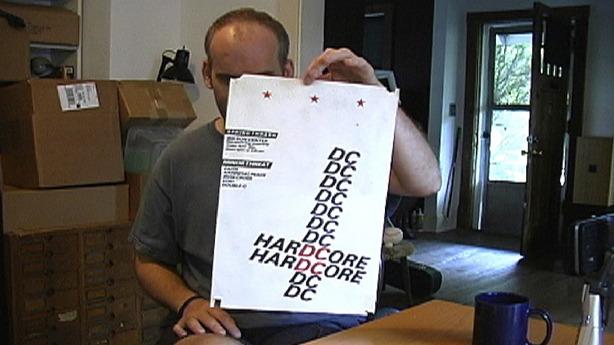 Ian MacKaye and early harDCore flyer, 2005