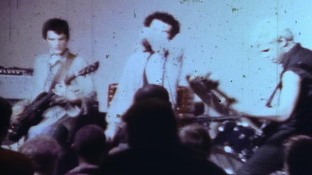 Michael Hampton, Alec MacKaye & Chris Bald of Faith, Super-8 freeze frame, 1982