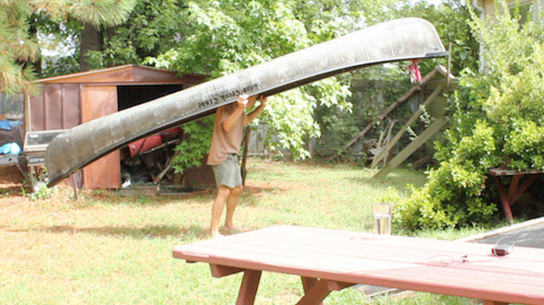 John Weiffenbach of Void and his canoe, 2012
