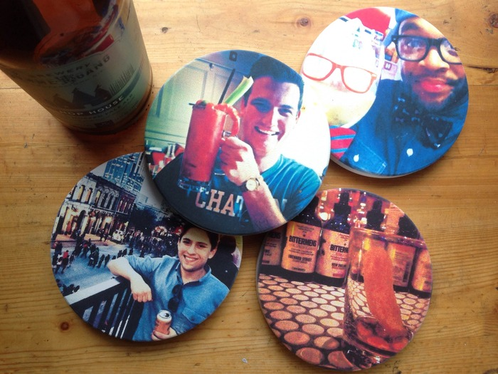 $50 - Custom stone coasters with four photos of your choice.