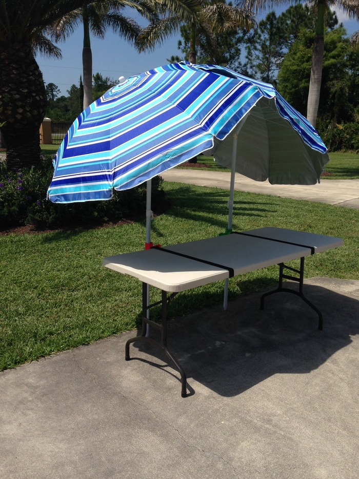 Strap it to a table for great shade!