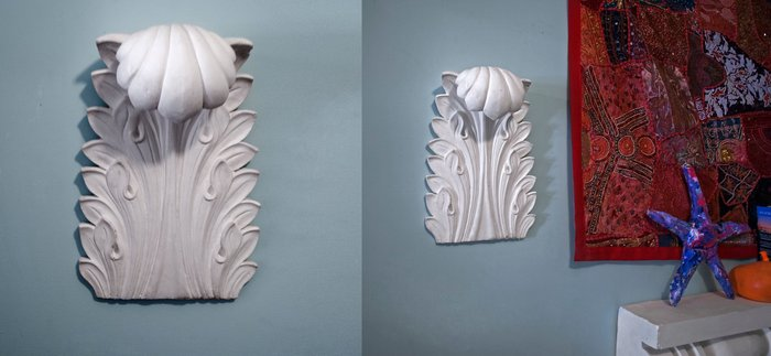 "Acanthus Leaf- This large (9.5"" x 13""), hand carved Greek leaf is cast in gypsum cement.  It is easy to hang and easy to paint."