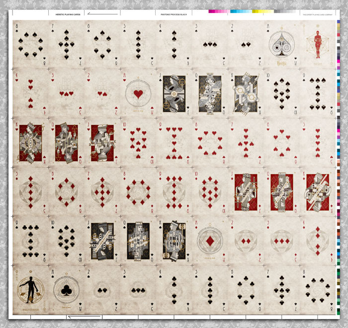 Uncut sheet layout : Heretic Lux (54 cards)