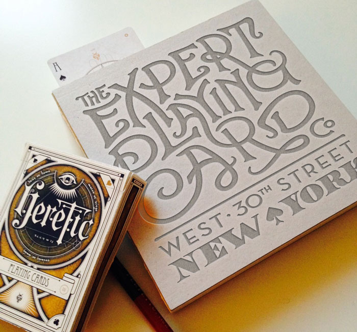 Heretic is printed by  Expert Playing Card Company at Conjuring Arts - NYC  (Heretic prototype tuckbox is shown)
