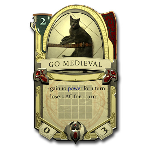 This card features our launch cat, Chimi, AKA Chimosine, sporting a medieval-ish belt.