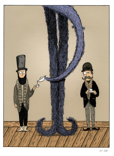 Example of a colored Edward Gorey style illustration in 6x9