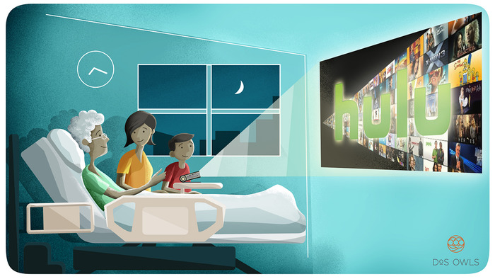Movie night with grandma at the hospital?  Easy.  Beam Hulu onto a wall and enjoy entertainment in the most unexpected places.