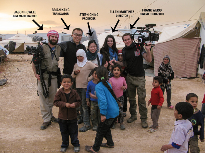 The shooting crew with some of our new friends in Zaatari
