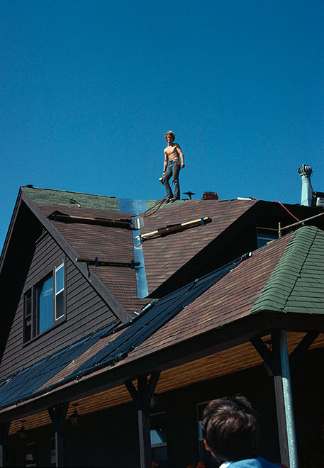 """Roofer at Christian Summer Camp, Michigan 1978 (24 x 30"""") (61 x 76 cm)"""