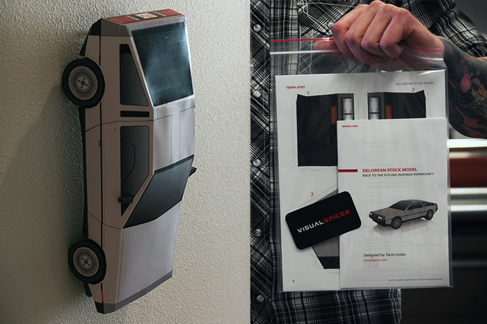 Wall mounted DeLorean  & Papercraft Kit (Copyright VisualSpicer)