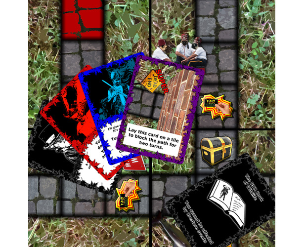 A selection of cards and tiles from the game.