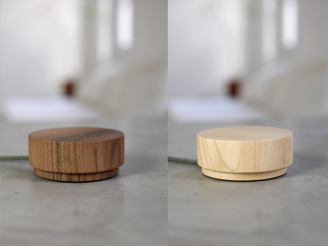 Wooden Pebble 2: walnut (left) and tilia (right)