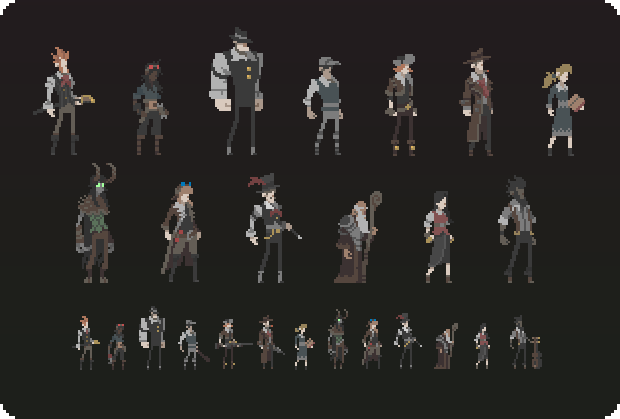 Playable characters. From left to right: Gentleman, Technician, Moose, Slugger (Stretch Goal), Trapper, PI, Curator, Guardian, Alchemist (Stretch Goal), Illusionist, Scribe, Innkeeper, Bard.