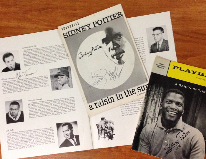 L to R: Souvenir program open showing Turman autograph, Chicago Tryout program signed by Poitier, Gossett and Turman; and Broadway playbill cover signed by Poitier