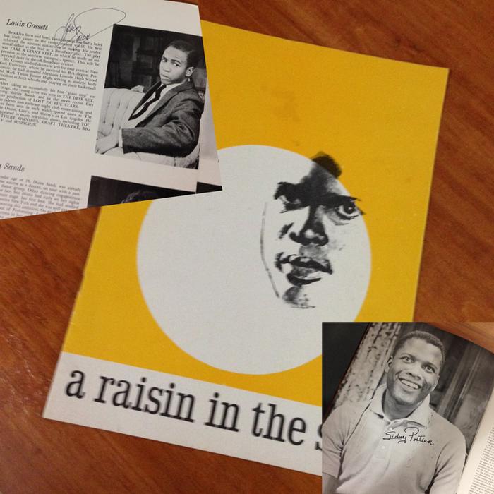 L to R: Souvenir program images—Louis Gossett Jr autograph, cover and Sidney Poitier autograph
