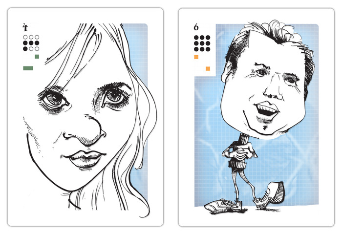 The two caricatures options: Option 1, face-card, Option 2, full-figure card. Please note that the full figure card was spliced together from two different drawings. Your actual caricature card will be one drawing, your caricature with a body.