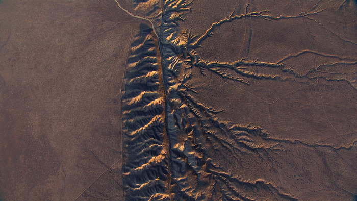 Helicopter aerial of the San Andreas fault over the Carrizo Plain in California