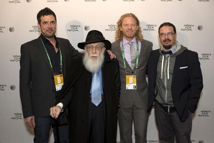 Directors Justin Weinstein and Tyler Measom with James Randi & Deyvi Pena
