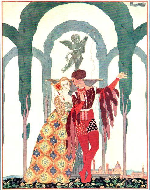 George Barbier discovered at the Paris flea market not two weeks ago. Four large plates that would look good reduced to one page. A nice little fillip of Art Deco to offset all the Romantic and Art Nouveau. You'd like it.
