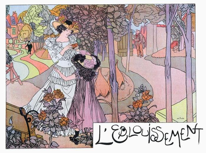 Georges De Feure - from one of the same L' Figaro's as the Mucha material. I've been debating this for a year. There are three images; each lushly detailed and they could be, like the Barbier's, reduced and shown on one page.