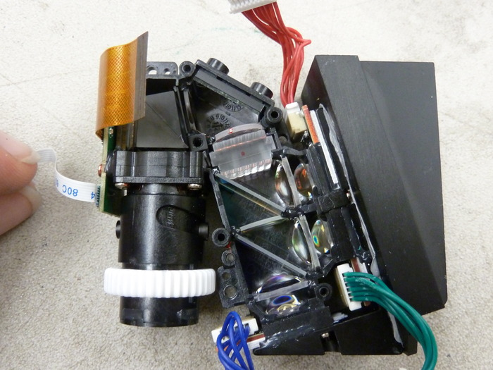 DMD Optical Engine - Bottom View.  Left is the optics, middle has the micromirrors and right side is the heat sink.