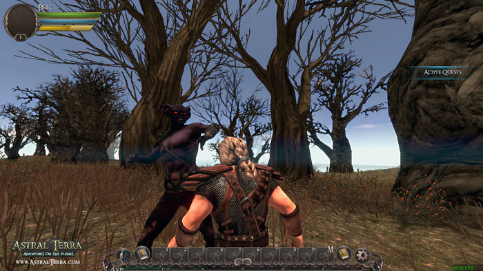 Bloodfiend in-game fighting a Dwarf in the Haunted Forrest Biome