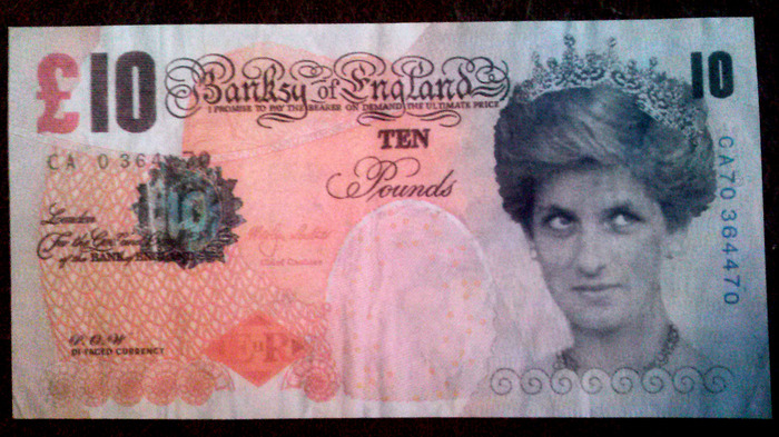 "First $2000 pledge gift - Banksy ""Ten Pound Note"" - As seen in the movie ""Exit Through the Gift Shop""."