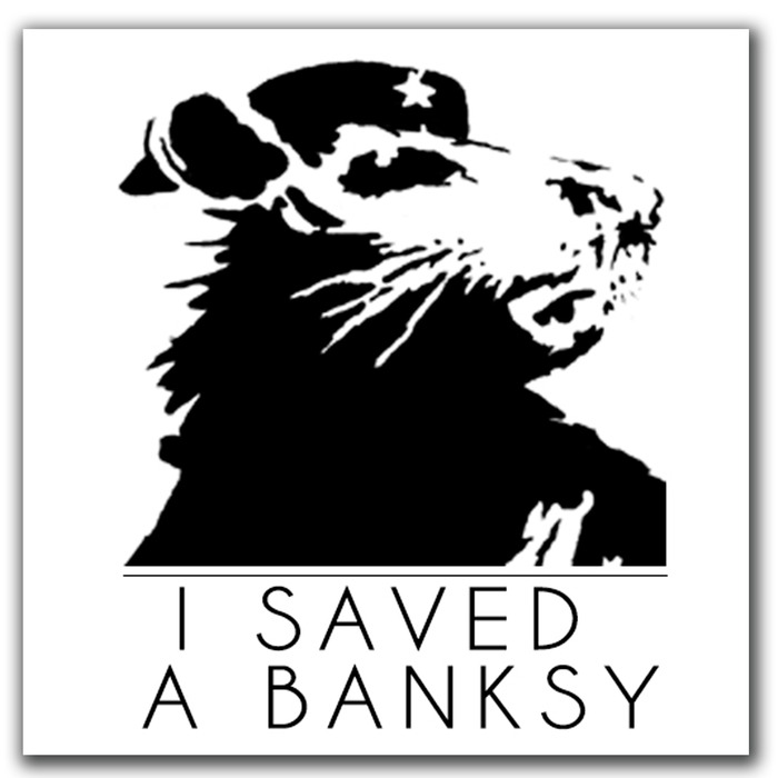 "$5 pledge gift - An official ""I Saved a Banksy"" (4""x4"") donor vinyl sticker."