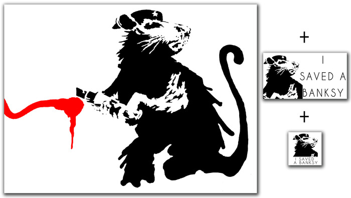 "$35 pledge gift - An official 8.5"" x 11"" limited run offset print of the Banksy being saved (includes ""I Saved a Banksy"" bumper sticker and donor vinyl sticker)"