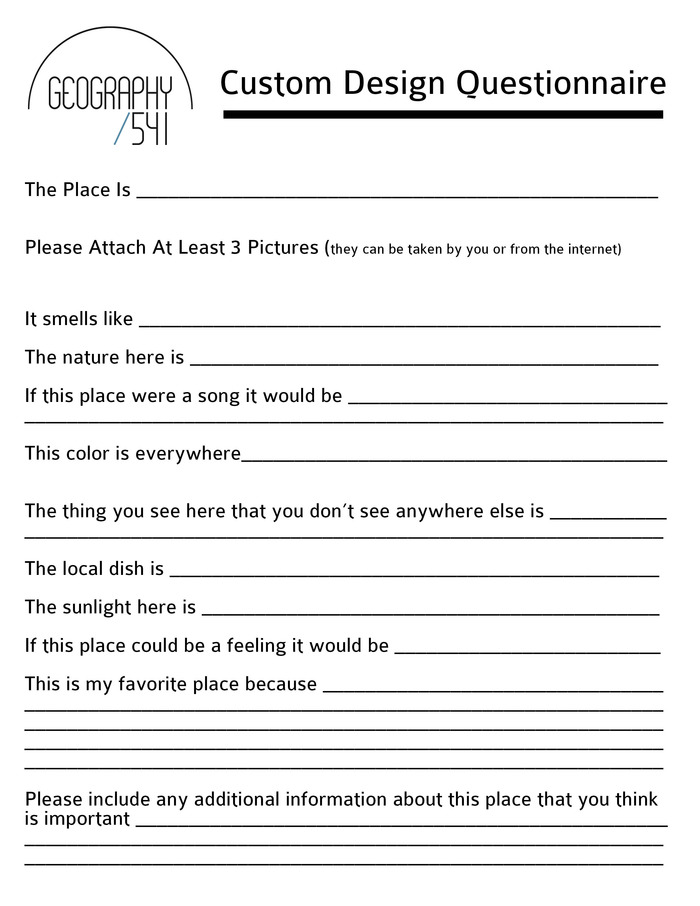 Just fill this guy out, we'll discuss a bit, and then your favorite place will come to life in your own one-of-a-kind piece or collection