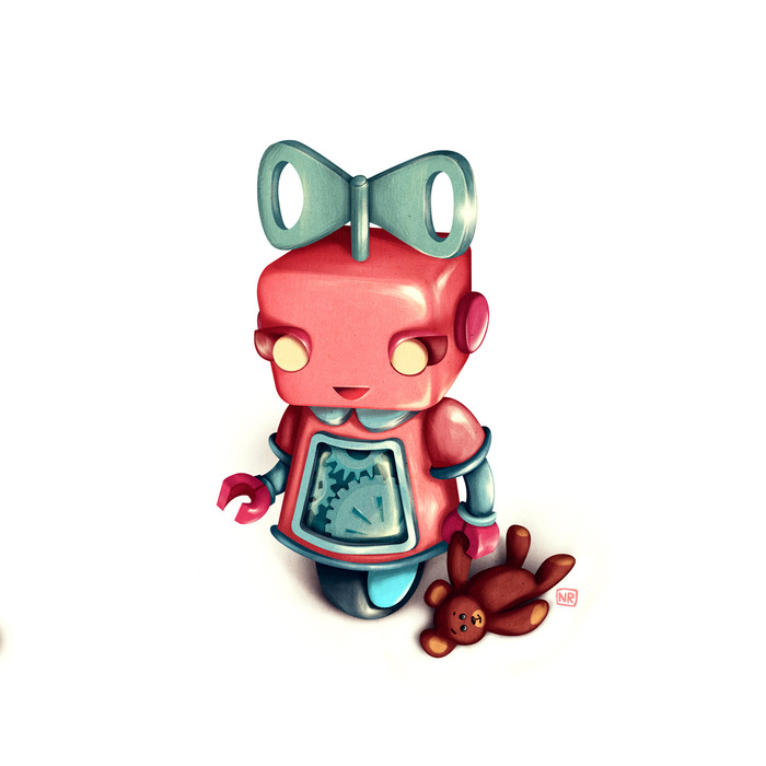 Stinky Robot Gemima - wind her up and she's your friend - but don't touch her teddy bear!