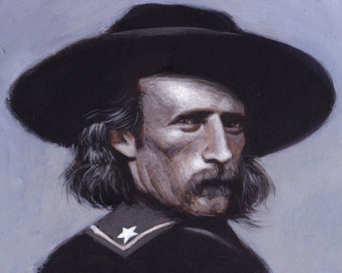 "Custer, 10.5"" x 7.5"", acrylic on board"