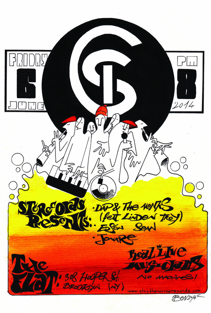 DAP & THE MONKS concert poster JUNE 6TH 2014 @ THE FLAT in Brooklyn, New York. Illustration by OSCAR BENITEZ.