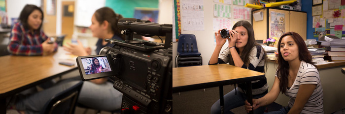 Students learning the art of filmmaking