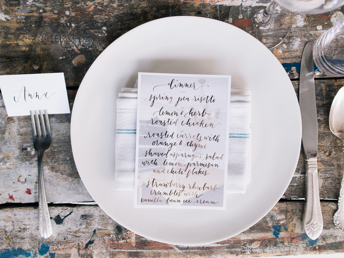 Dinner party menu (handwritten by Sally Balt; photo by Signe Birck).