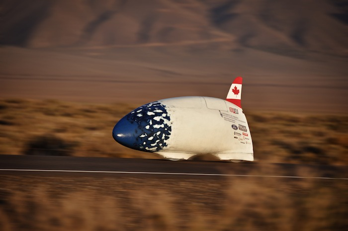 Bluenose at Battle Mountain, Nevada, at a speed of 78MPH (125 Km/h) (Photo by Tom Amick).