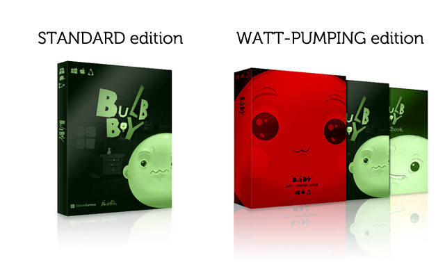 STANDARD BOX mockup - DVD, Box and Stickers included. WATT-PUMPING BOX mockup - DVD, Fat Box, Art Book, glowing T-shirt and Stickers included.