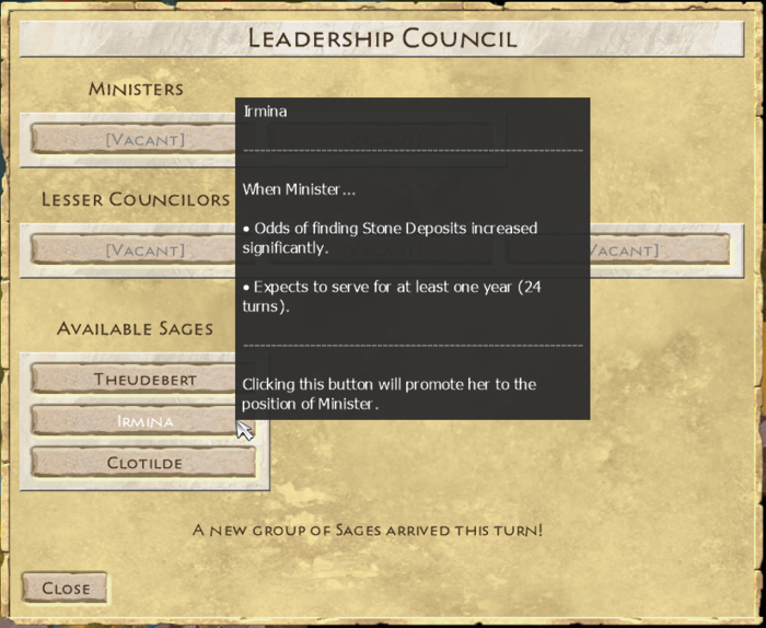 The Leadership Council screen isn't much to look at yet, but the gameplay is shaping up nicely.