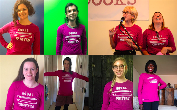 Everyone looks happier & smarter in our Equal Writes T-shirt! Comes in black too.