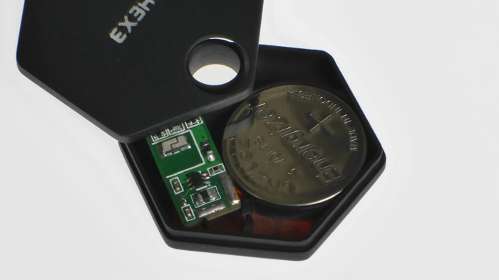 Inside StormTag - Prototype PCB and battery