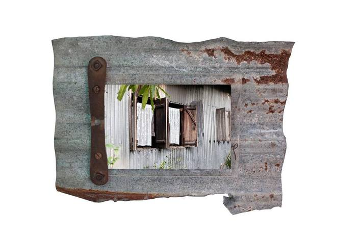 Annalisa Iadicicco, mixed media, photography on found metal panel.