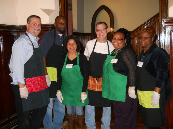 A group of volunteers ready to serve lunch at Broad Street.