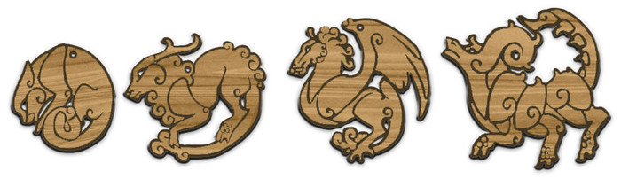 Wooden Laser Cut Pendants. Cat (leftmost) in packages $90 and up, full set in $150 and up (what you see here are mockups)