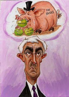 Alistair Darling caricature by Paul Baker